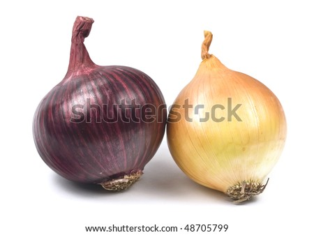 Two varieties of onions – red and brown