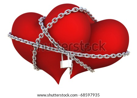 two velvet hearts linked together with silver chain. isolated on white with clipping path. - stock photo