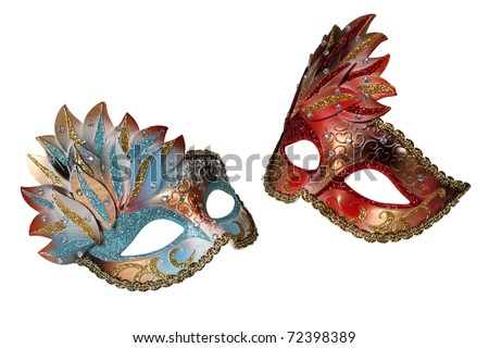 Two Venetian masks isolated on white