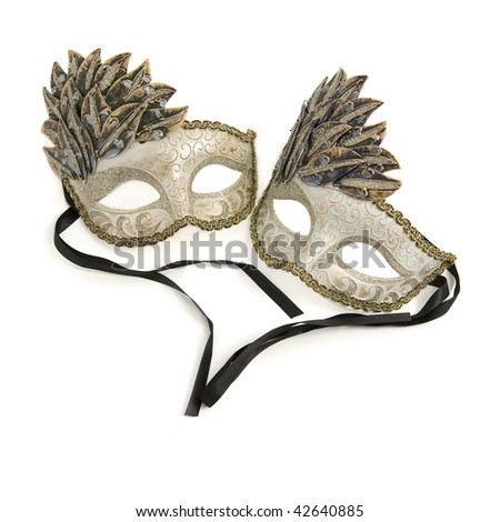 Two venitian carnival masks on white background