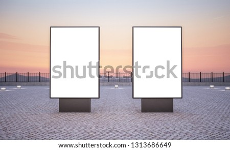 Two vertical billboard outdoors 3d rendering mockup
