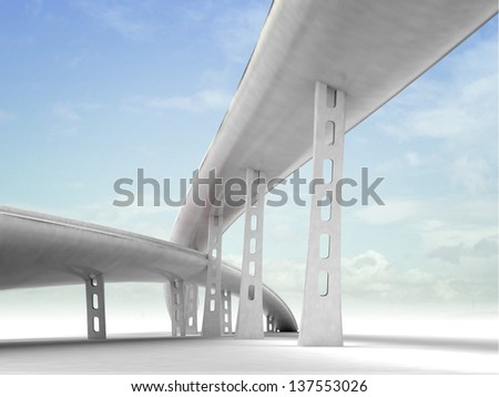 two viaduct motorways with sky background illustration