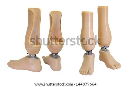 Two views of prosthetic legs isolated on white