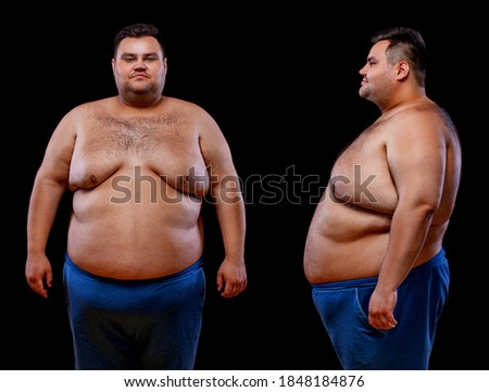 Two views of young shirtless fat man: front and profile shot, isolated on black background Сток-фото ©