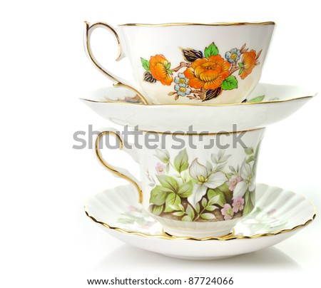 Two Vintage Coffee Or Tea Cups On White Background