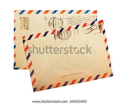 two vintage envelope back sides with russian meter stamps isolated on white