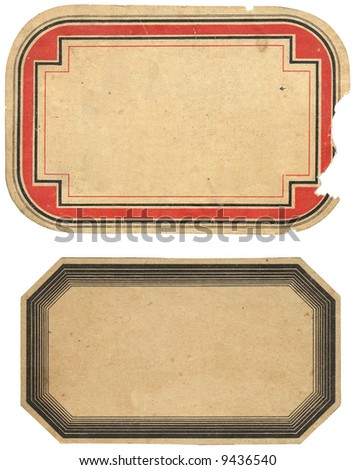two vintage labels isolated on white, first from 1908, the second one from 1921