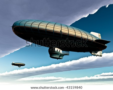 Two vintage metal plated Zeppelins pass each other in sky. Big clouds open blue sky. Conceptual, metaphor.Original illustration
