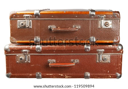 Two vintage suitcases isolated. Clipping path included.