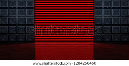Two walls of guitar amplifiers on the background of horizontal red glowing stripes. Background of the luminous bands and guitar amplifiers.. 3D Illustration