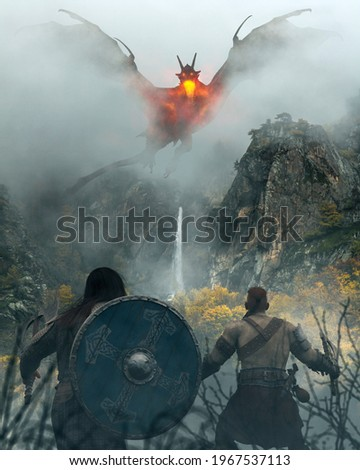 two warriors Vikings fight against a big fire dragon in a battle on mountains with fog and mist - concept art - 3D rendering