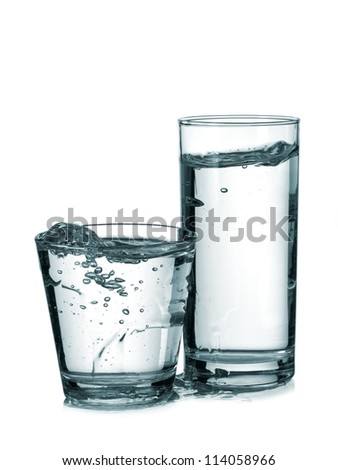 Two water glasses plash