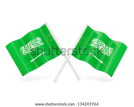 Two wavy flags of saudi arabia isolated on white