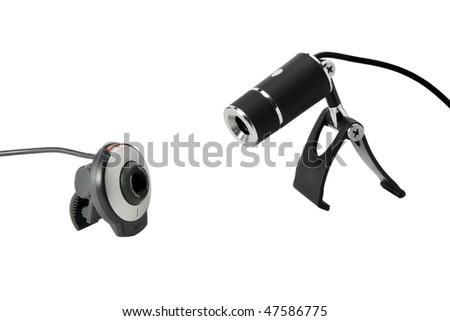 Two web cameras isolated on a white background
