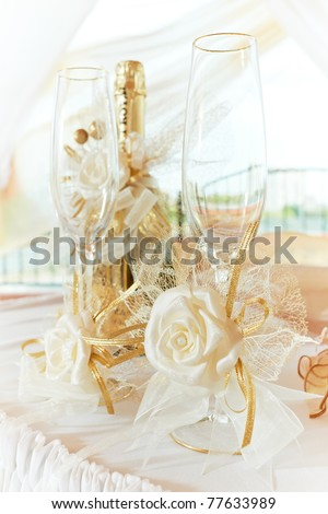 Wedding Party Wine Glasses on Photo   Two Wedding Glasses With Decoration And Champagne Wine Bottle