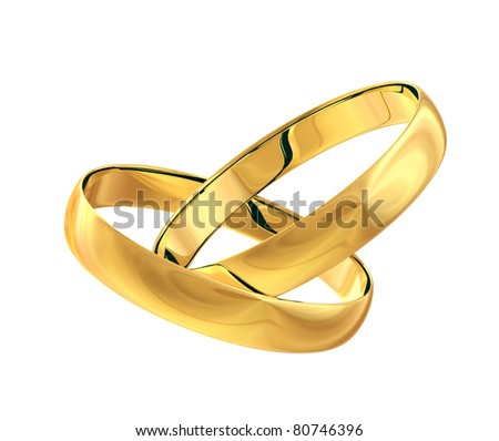 Two wedding gold rings isolated on white background