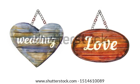 Two wedding hanging decorative wooden signposts with titles. Hand drawn watercolor illustration. Isolated on white background