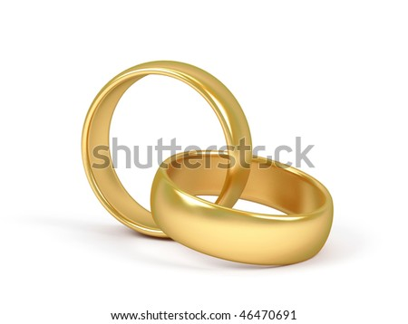 stock photo Two wedding ring on a white background