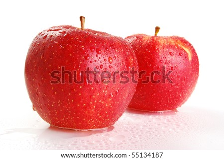 Two wet apples
