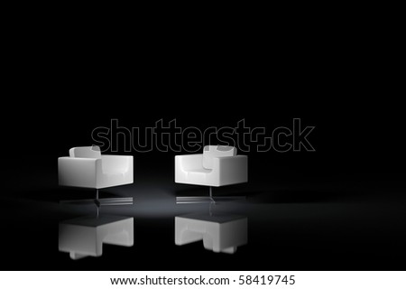 Two white armchairs on a black background