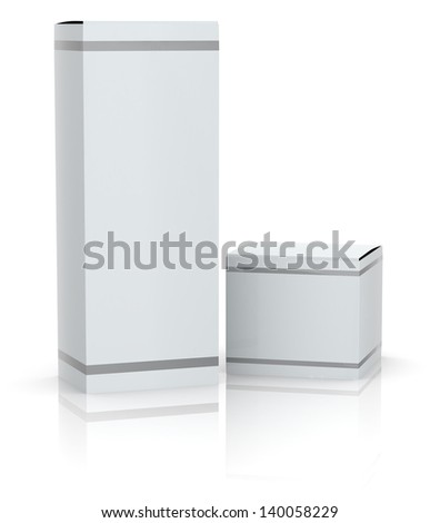 two white boxes with empty space for custom text or image (3d render)