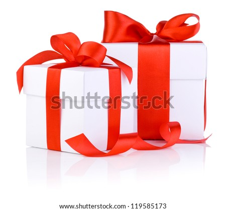 Two White boxs tied with a red satin ribbon bow Isolated on white background