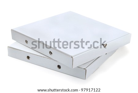 Two white cardboard pizza boxes isolated on white