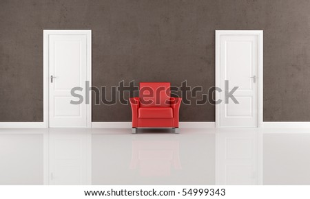 two white closed door and red armchair in a minimalist interior - rendering