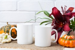Two white coffee  mug mockup with Thanksgiving fall orange pumpkin and red lily.  Empty mug mock up for design promotion.