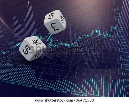 Two white currency dice on blue stock chart