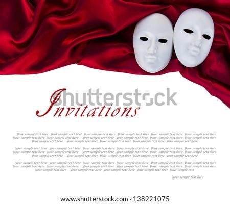 two white masks over satin - stock photo
