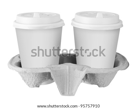Two White Paper Cup isolated on white