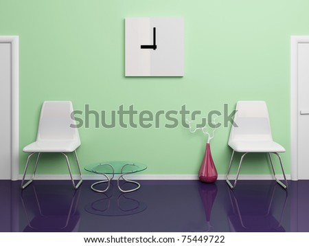 Two white plastic chairs,  square clock, red vase, glassy table in office corridor. 3d rendered illustration.