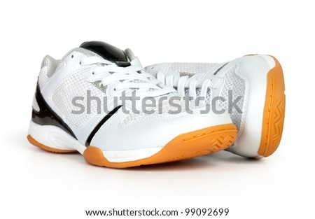 two white Running shoes, isolated on white - stock photo