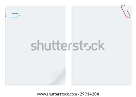 Two white sheet of clipped papers