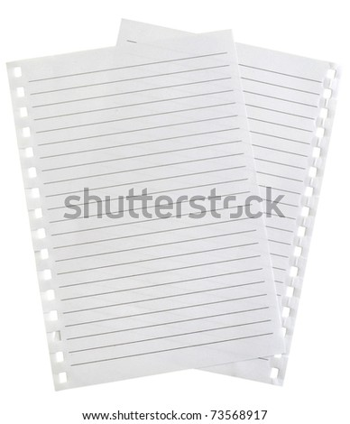 two white  striped pages isolated on white