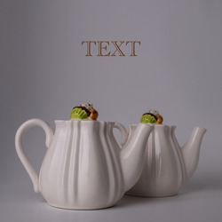 Two white teapots for tea. Dishes for tea drinking. Cupcake on a lid Muffin