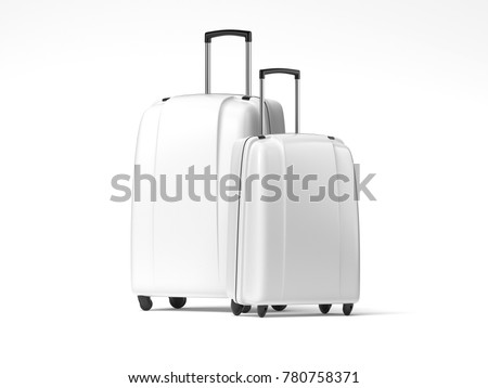 Two white travel bags isolated on bright background. 3d rendering