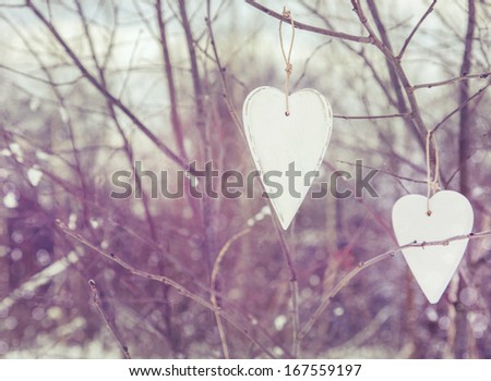 two white vintage hearts...