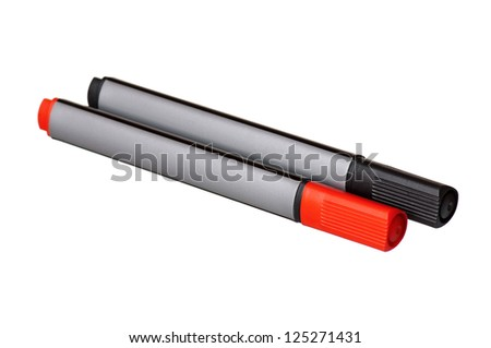 Two whiteboard markers - red and black, isolated on white background