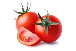 Two whole and cut wedge of fresh, red tomato isolated on white background. Clipping path. Full depth of field.