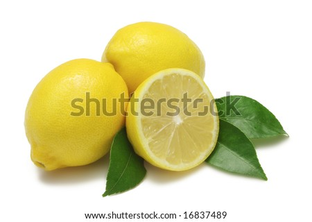 Two whole lemons, one half lemon, with leaves, isolated on white with clipping path - stock photo