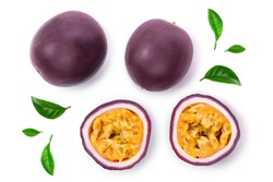 Two whole passion fruits and a half isolated on white background. Isolated maracuya. Top view. Flat lay