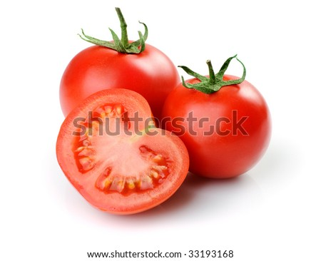 Two whole tomatoes and one half. Isolated on white background