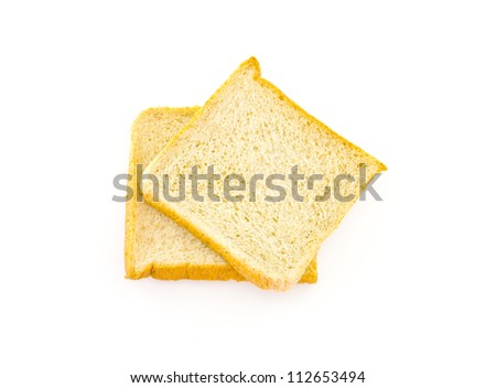 Two whole wheat bread on white background