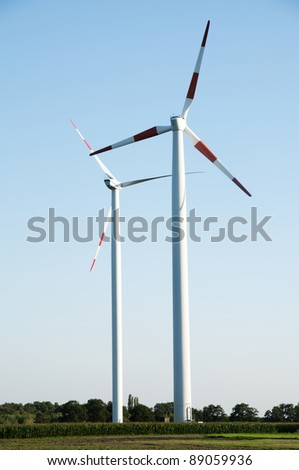 two wind turbines in The Netherlands