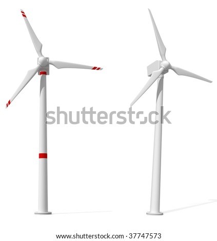 two wind turbines isolated on white - rendering - stock photo