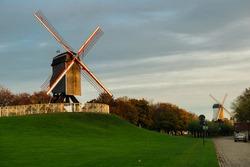 Two windmills in Bruges, Belgium