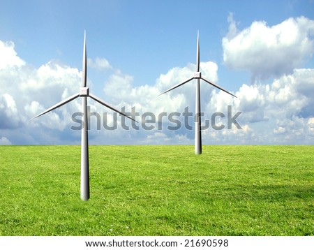 Two windmills, safe energy source