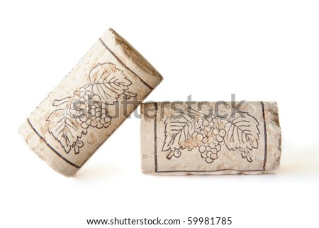 Two wine corks isolated on a white background